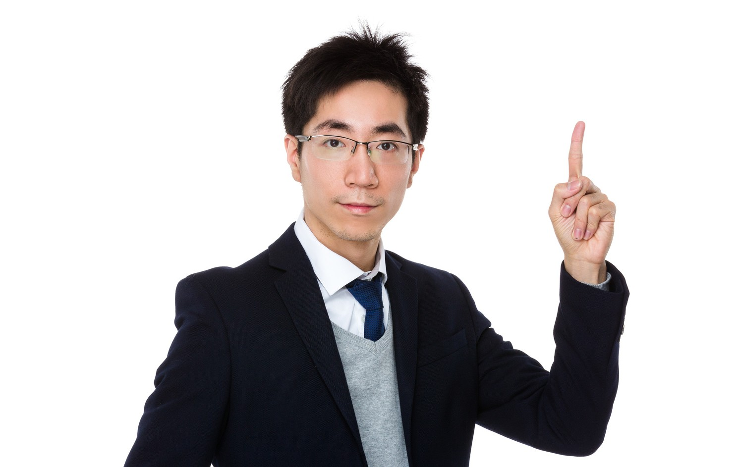Young businessman with finger showing up